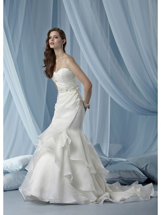 Draped Skirt And Elegant Beaded Sweetheart Organza Mermaid Wedding Dresses $276