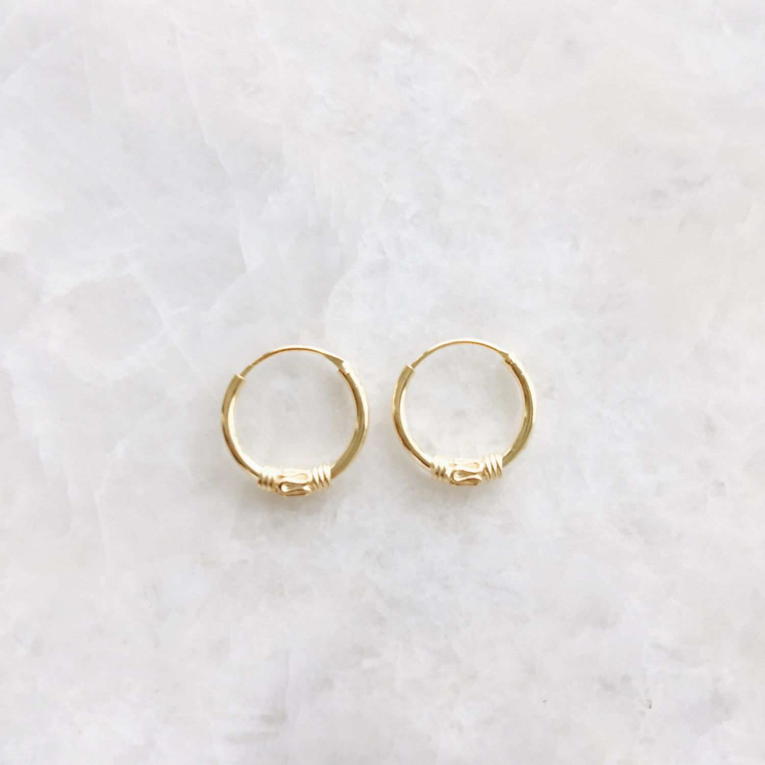 Gold Plated 12mm Ear Hoops, Tiny Gold Balinese Hoop Earrings, Tribal Style  Earrings, 12mm Hoop Earrings (h117)