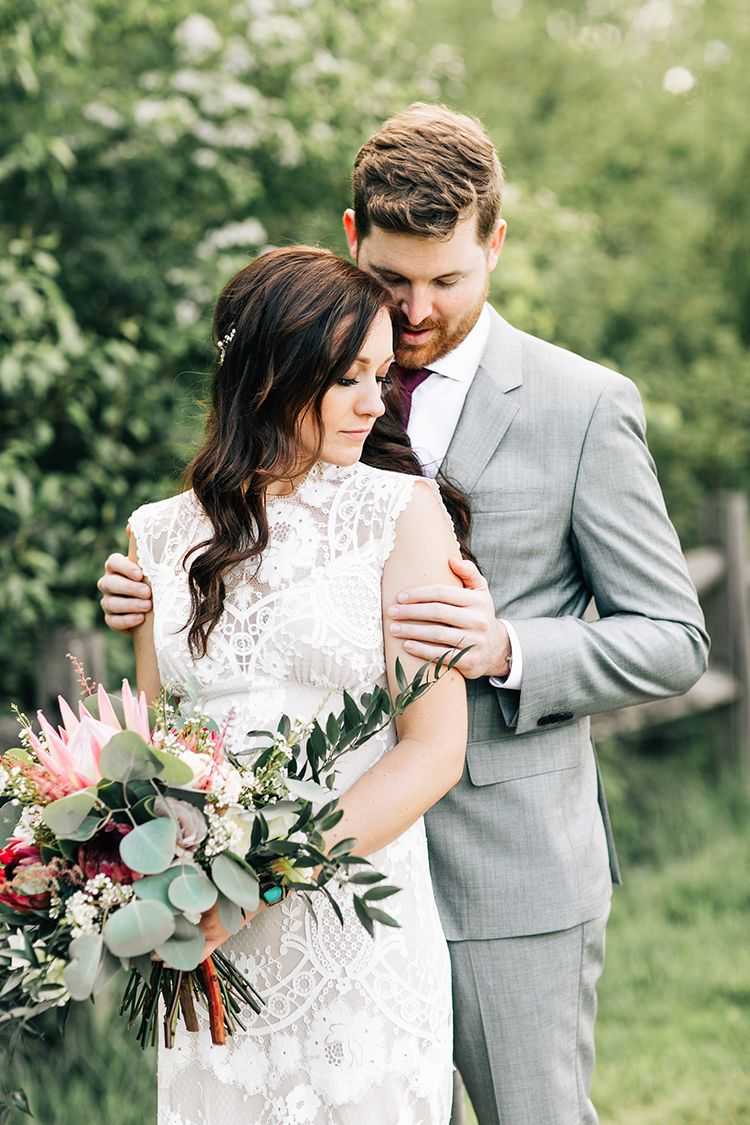 Boho pacific northwest forest wedding with king protea king protea