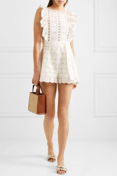ee8ac9bcfd Zimmermann - Kali Daisy Broderie Anglaise Cotton And Lace Playsuit - White