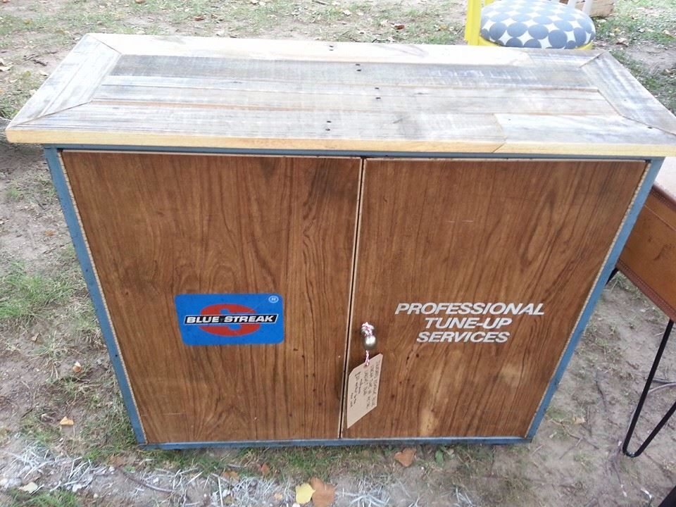 Vintage Metal Automotive Cabinet Makes The Perfect Man Cave Roll Away Bar With Pallet Wood