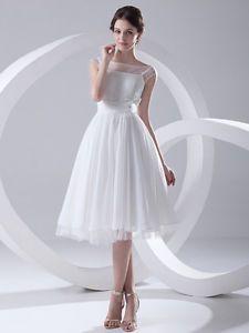 Bateau Chiffon A Line Short Bride Wedding Dress w/ Flower Custom Reception Dress