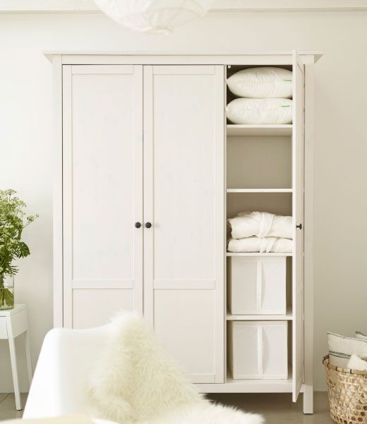 Ikea Shelves Hemnes Daybed In A Boys Bedroom: HEMNES White Wardrobe With Four Adjustable Shelves And Two