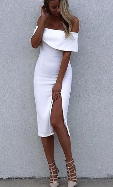 Make them stare ☀ White Off Shoulder Elegant Luxury Bodycon Sexy Cocktail  Party Bandage Dress - Crystalline 626254c20f9c