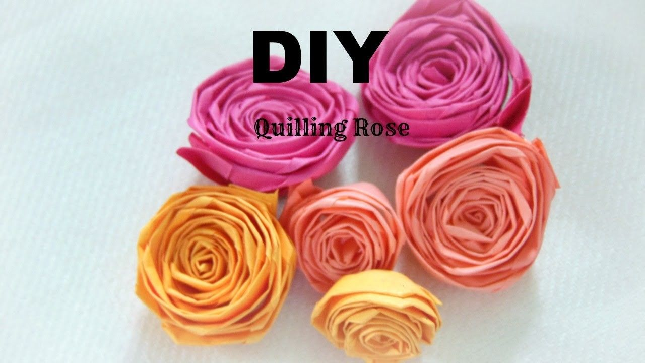 PAPER CRAFT: How To Make Paper Quilling Rose- Easy  for How To Make Paper Quilling Rose  575cpg