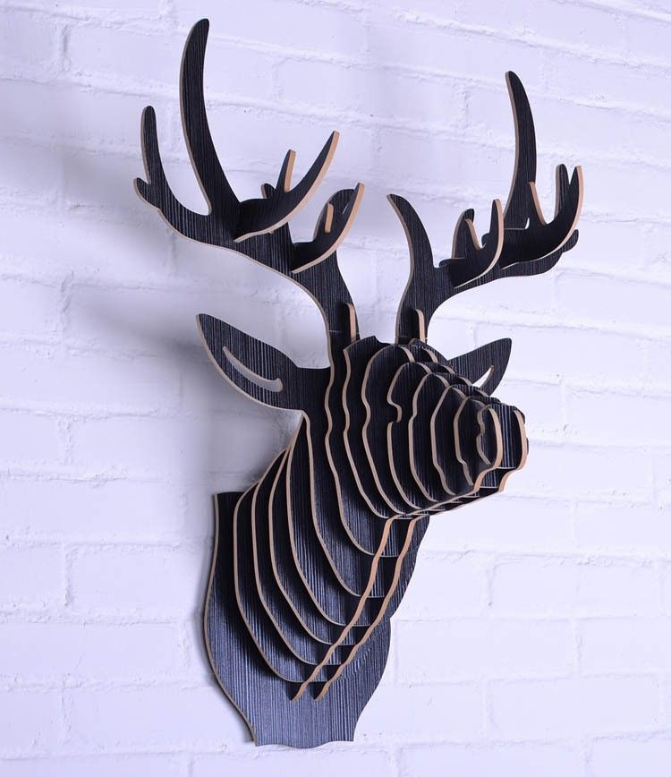 33 Creative 3d Wall Art Projects Meant To Beautify Your Space Through Color Texture And Volume Animal Head Wall Hanging Animal Heads Hanging Art