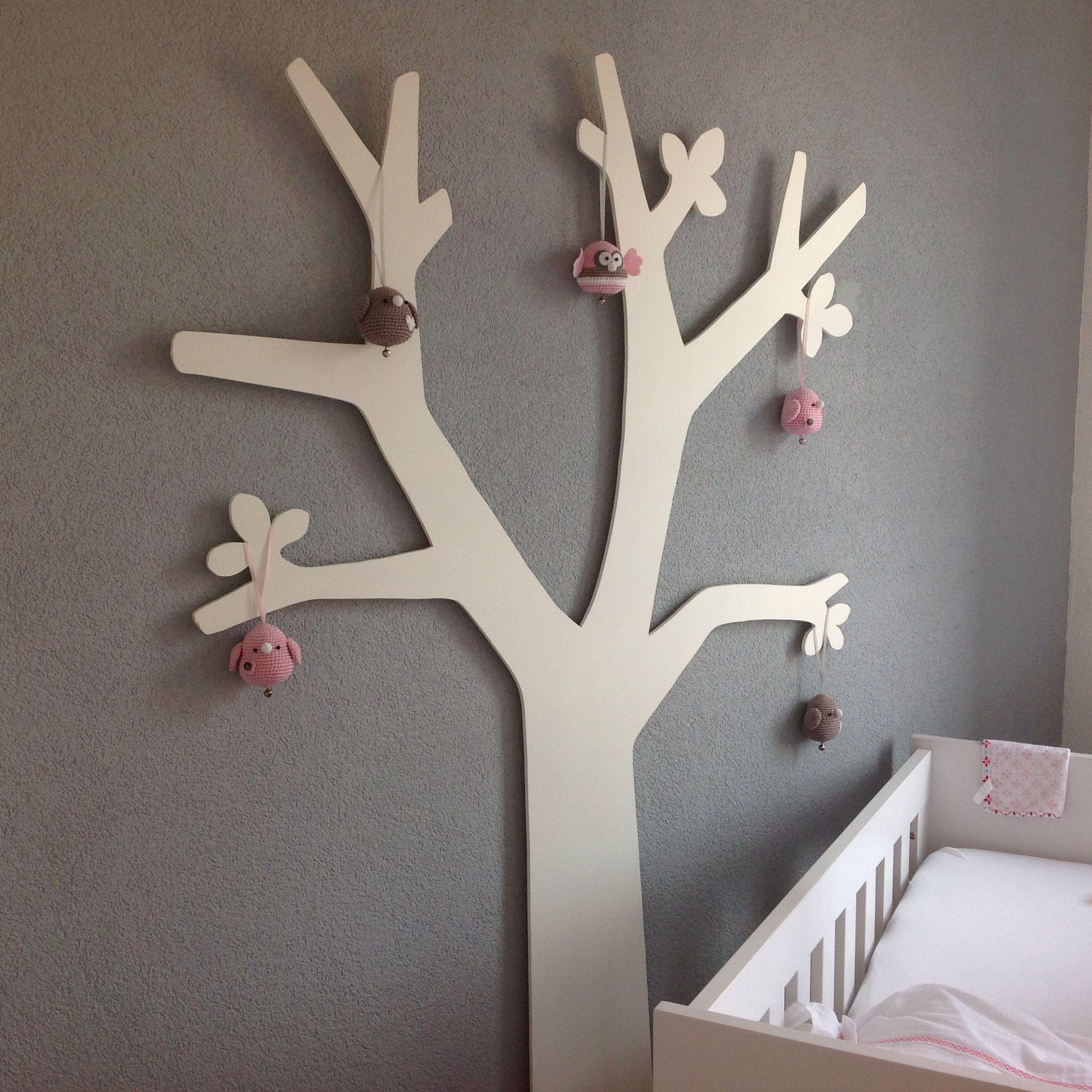 houten boom met gehaakte vogels en een uil | babykamer | pinterest, Deco ideeën