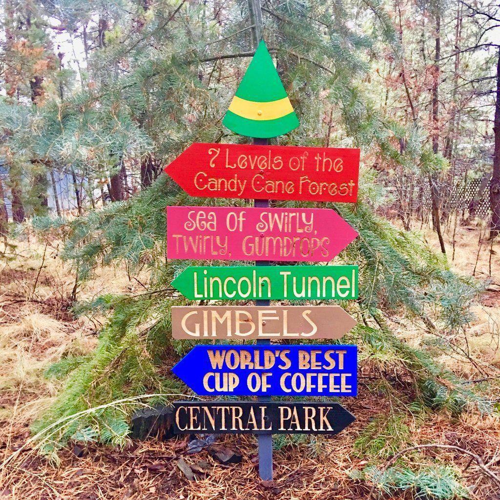Elf Movie Christmas Directional Sign Christmas Yard Decoration – Engraved Cedar Wood