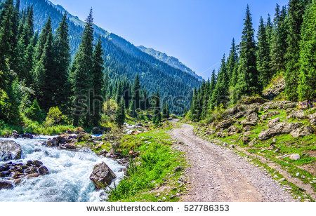 Mountain River At Mountain Path Road Landscape Landscape Mountain River Background Images