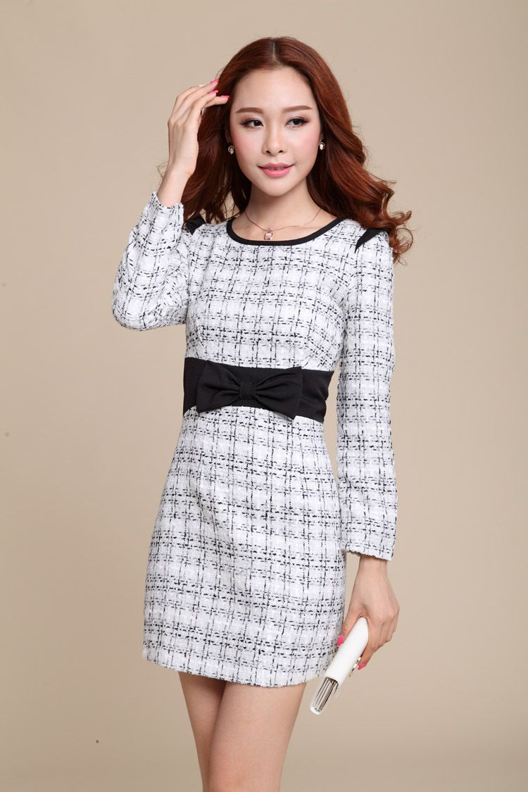 OL black and white grid woolen dress
