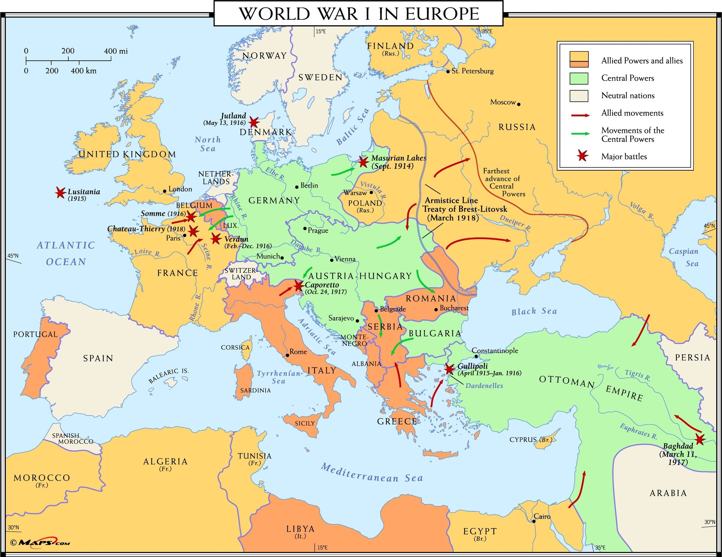 map of europe during ww1 World War I In Europe Map Maps Wwi Madriver Me New Ww1 Of
