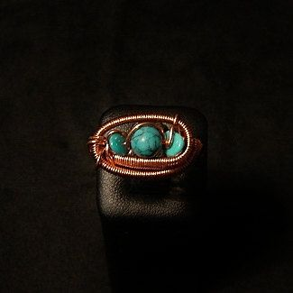 Turquoise and copper wrapped ring size 9  by KariLeaPutzJewelry, $25.00