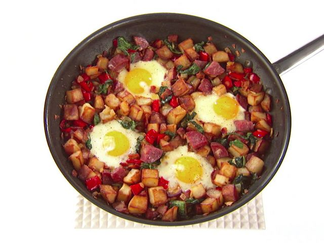 Salami, Bacon and Spinach Hash Recipe : Giada De Laurentiis : Food Network