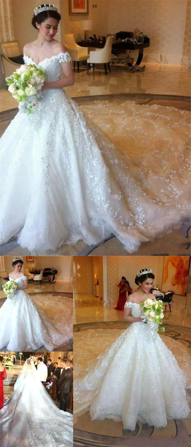 Luxurious offtheshoulder wedding dressbridal gown with lace