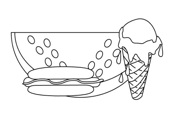 Junk Food Ice Cream And Hot Dog Coloring Page | Kids Coloring Pages ...