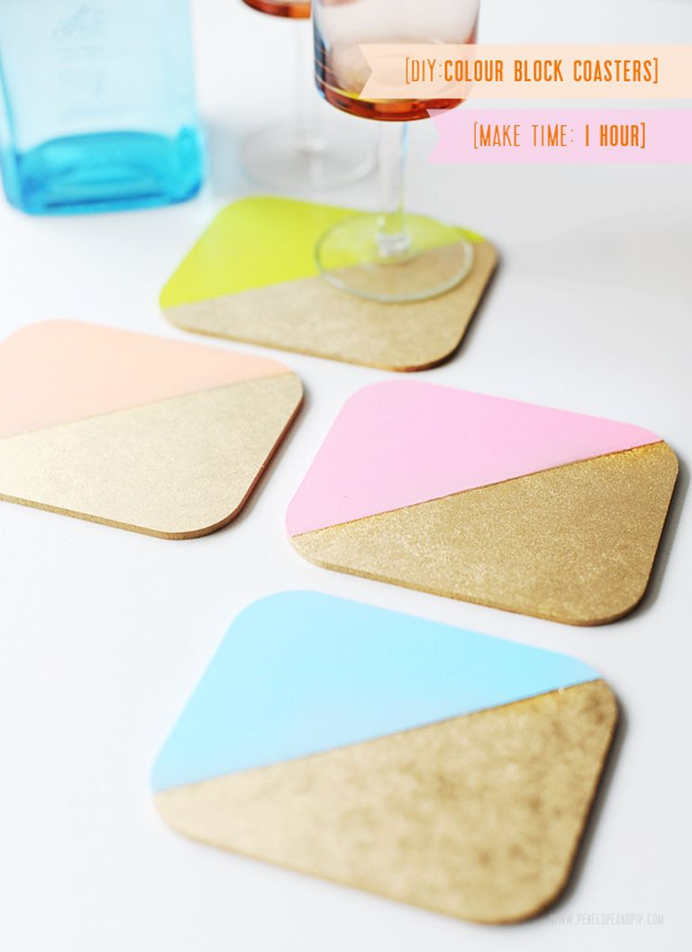 DIY Project: Colour Blocked Coasters, penelope & pip