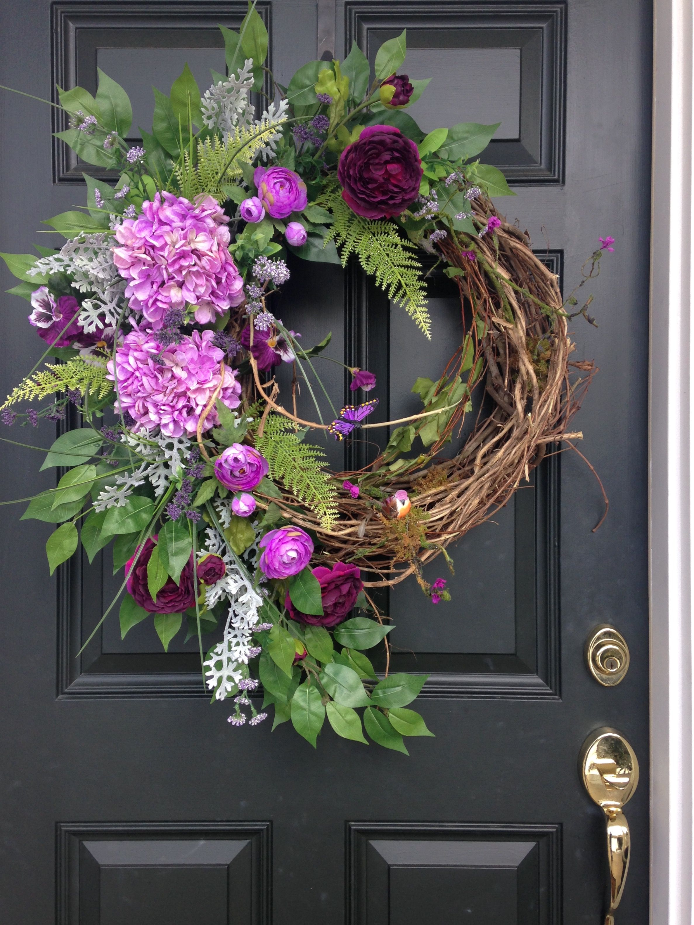 Grapevine Wreath Lavender Hydrangeas Deep Dark Purple