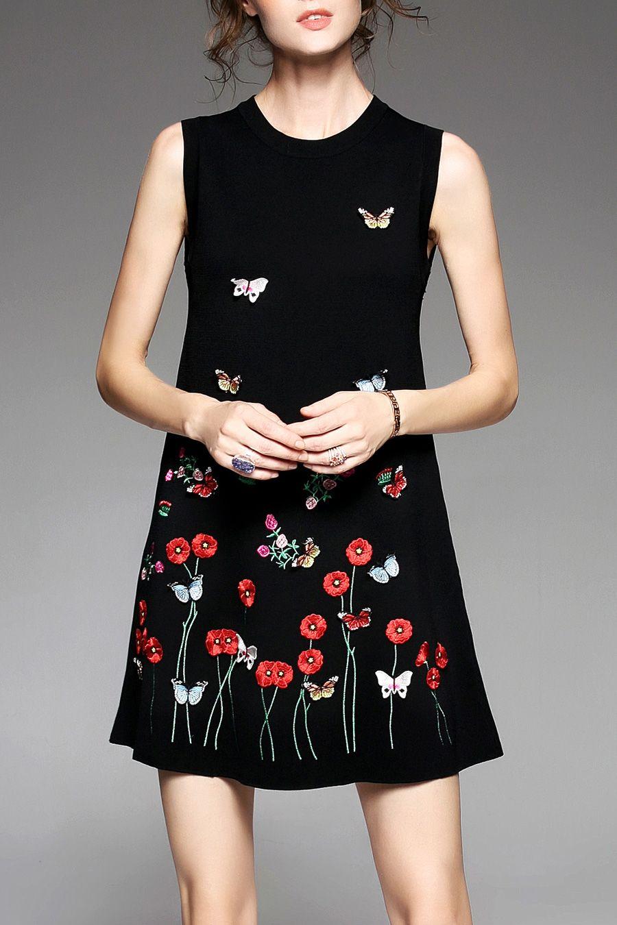 Floral Embroidered Sweater Dress  f0d7af2a8