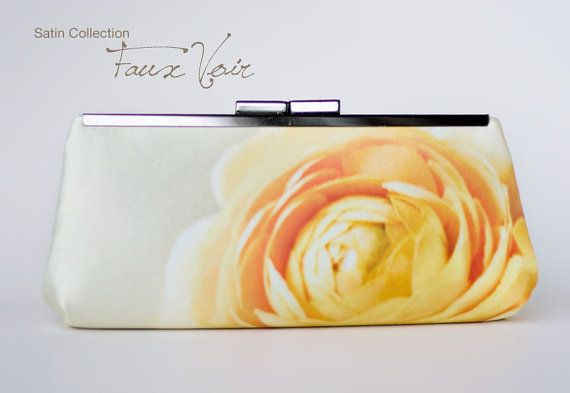 Yellow floral satin clutch handbag bridesmaid wedding by evaricci, $85.00