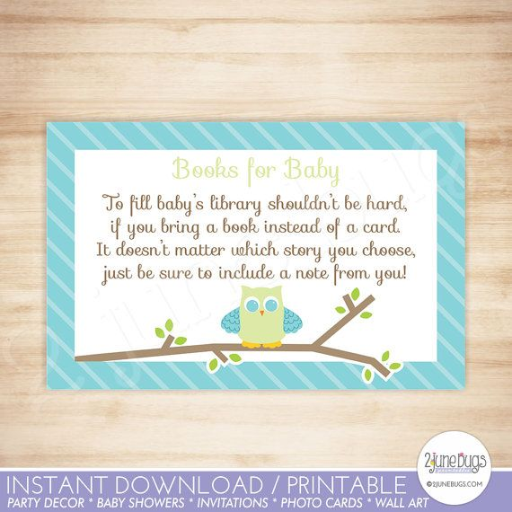 Owl Baby Shower Book Request Cards - Owl Baby Boy Shower Invitation