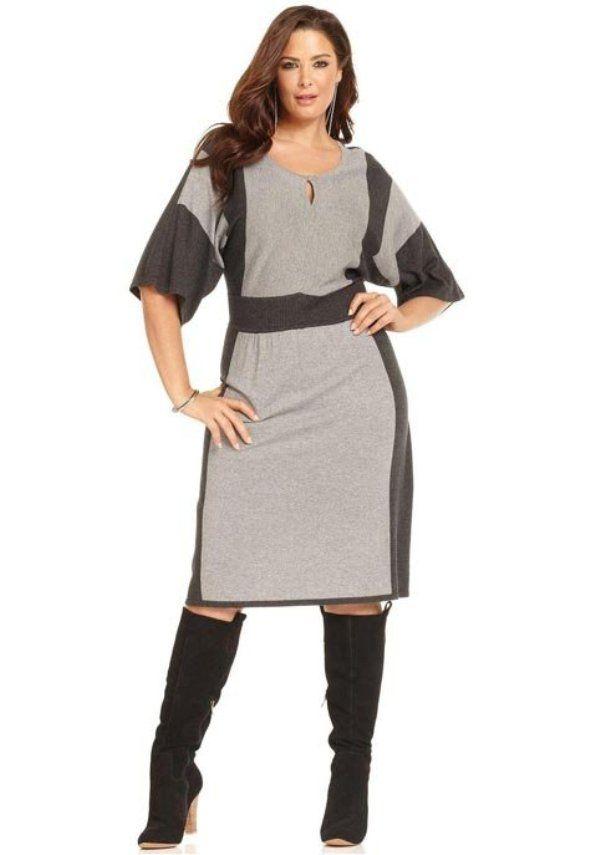 f623d3c6979 Платье из джерси для полных двухцветное