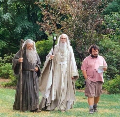 Ian McKellen, Christopher Lee and director Peter Jackson between takes of The Lord of the Rings.