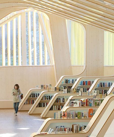 Interesting Home Library Designs For Modern Homes: Beautiful Public Library Designed By Helen & Hard