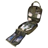 "- Tri-fold design. - Multiple pockets and elastic loops for storage. - Double zipper closure. - Addition 2"" webbing, with pull-tab for quick/temporary closing. - Two Inch patch area across front of pouch. - Wide handle for carrying or rapid removal. - Two D-rings on the back for shoulder strap."