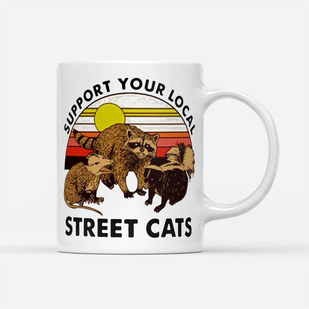 Support Your Local Street Cats Vintage White Mug in 2020