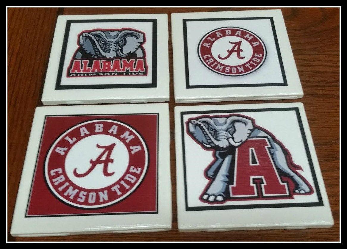 Home Decor Alabama Football Coasters Decorative Ceramic Picture Tile Alabama Football Coasters Set Of 4 Crimson Tide Football Coasters