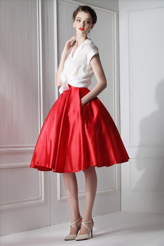 Roman Holiday White Red Dress Set Audrey Hepburn Silk Cotton White Blouse Top Red Thailand Linen Pleated Full Skirt Sheer Silk Woman Blouse