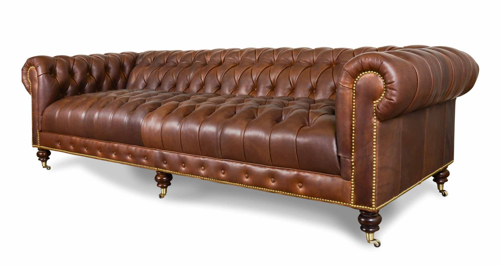 Braun Leder Chesterfield Sofa