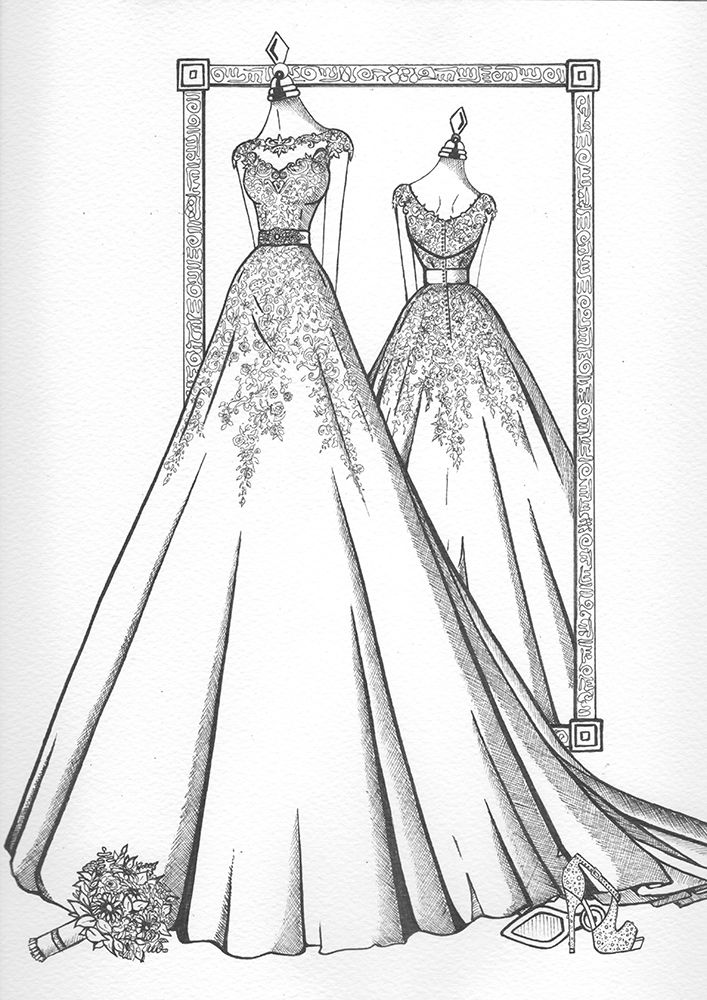 Mirror View Sketch Wedding Dress Ink Wedding Dress Drawings Wedding Dress Illustrations Dress Design Drawing