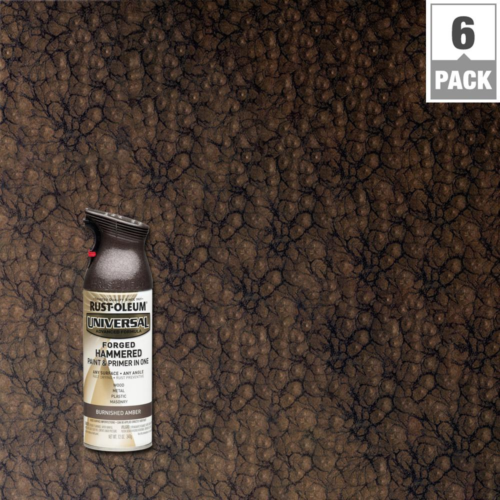 Rust Oleum Universal 12 Oz All Surface Forged Hammered Burnished Amber Spray Paint And Primer In 1 6 Pack Rustoleum Spray Paint Rustoleum Spray Paint Colors
