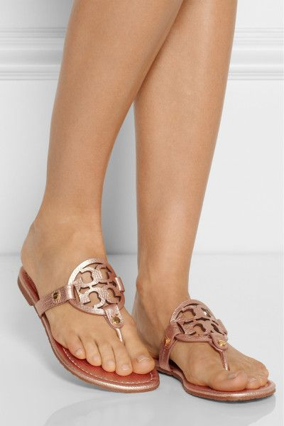 fcf398458458 Tory Burch Miller Metallic Leather Sandals in Pink (Rose gold)