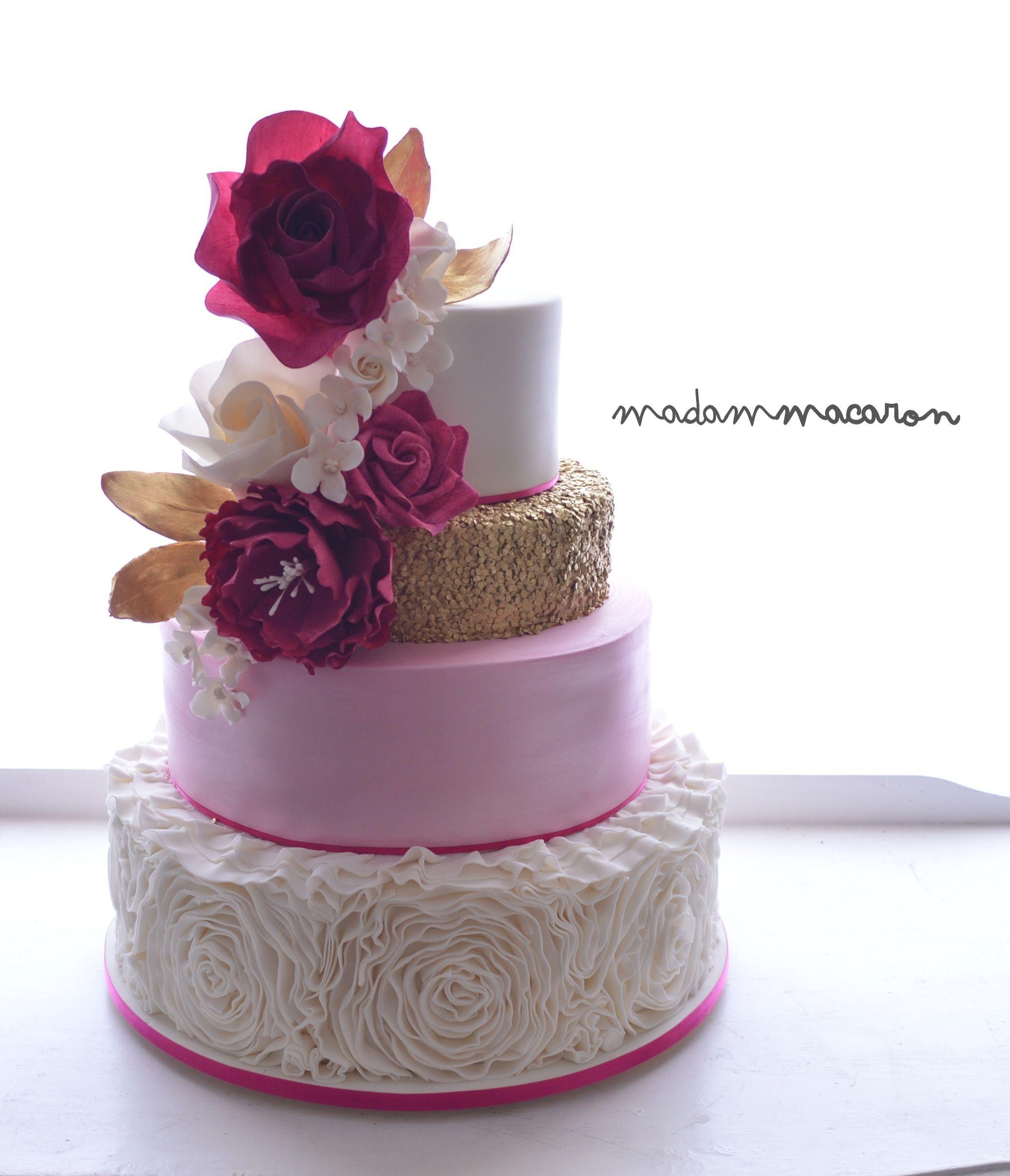 White Gold And Pink Wedding Cake White Rose Ruffles Pink Shimmer