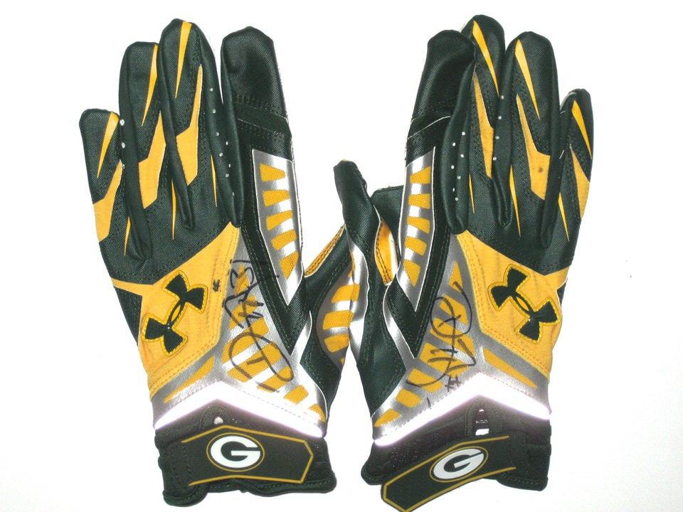 Davon House Game Worn   Signed Green Bay Packers RARE Dark Green   Gold  Under Armour Gloves bf907e041
