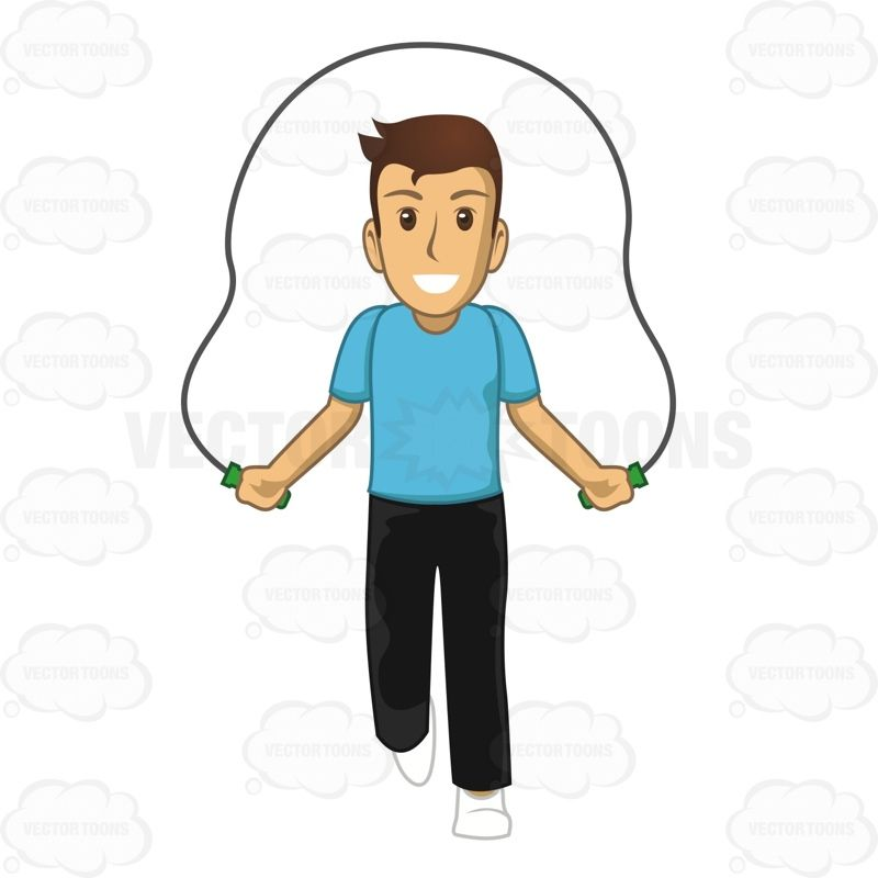 Male Jumping Rope Jump Rope Cartoon Clip Art Illustration