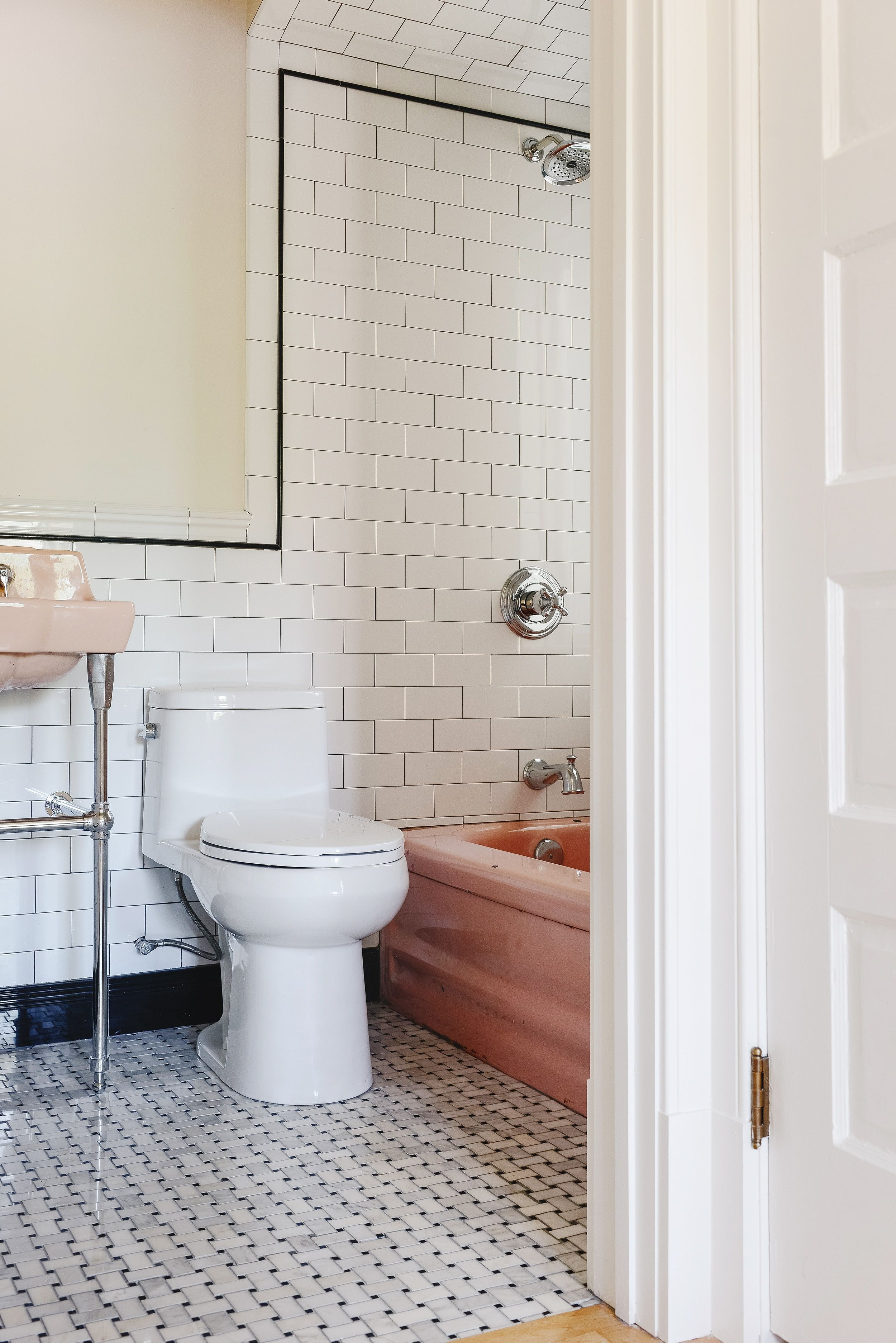 Mixing Old New In Our Vintage Pink Bathroom In 2020 Pink Bathroom Yellow Bathrooms Vintage Sink