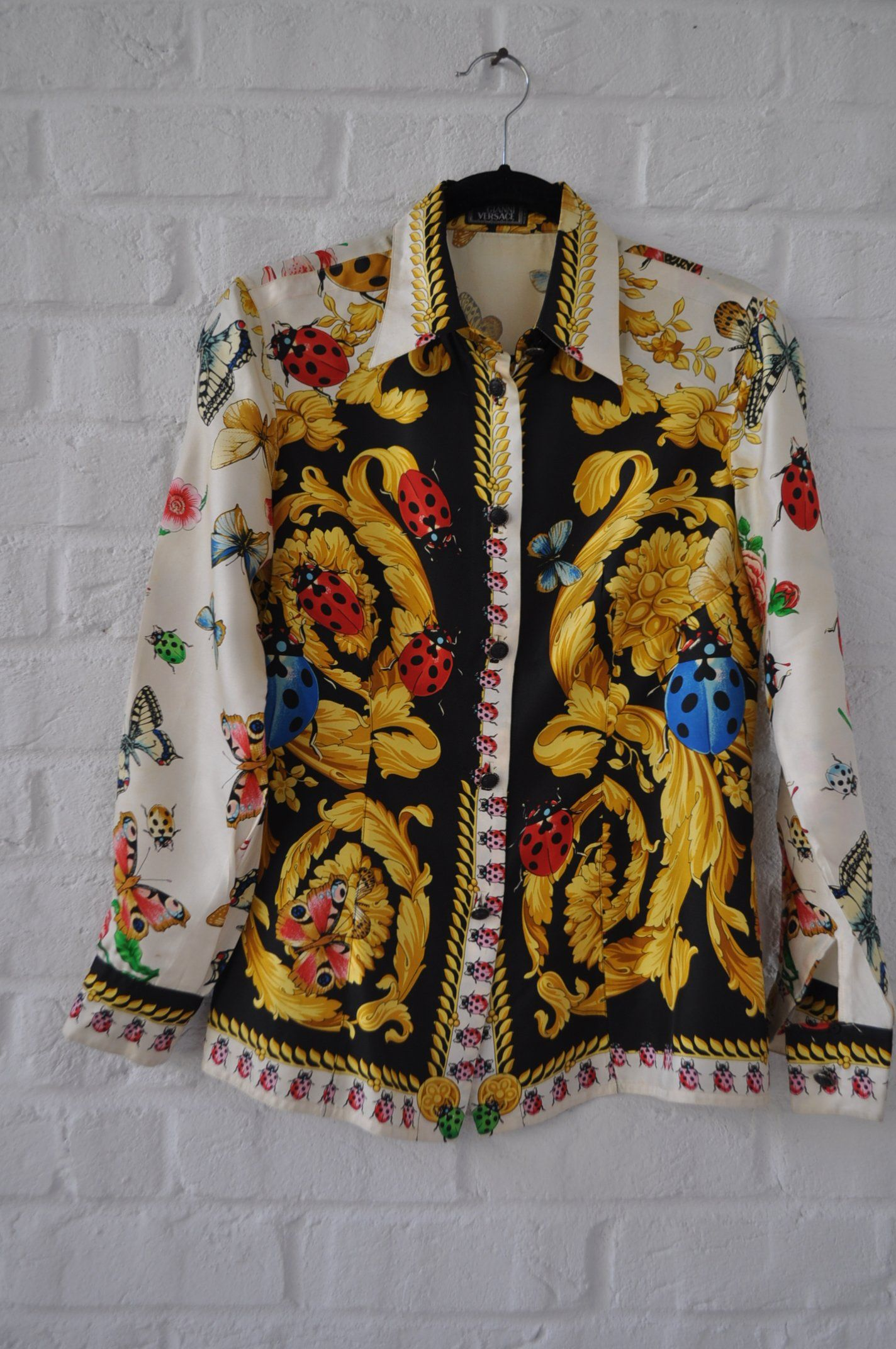 a6c1c825 Gianni Versace silk shirt w lady bug and butterfly print fabulous ...