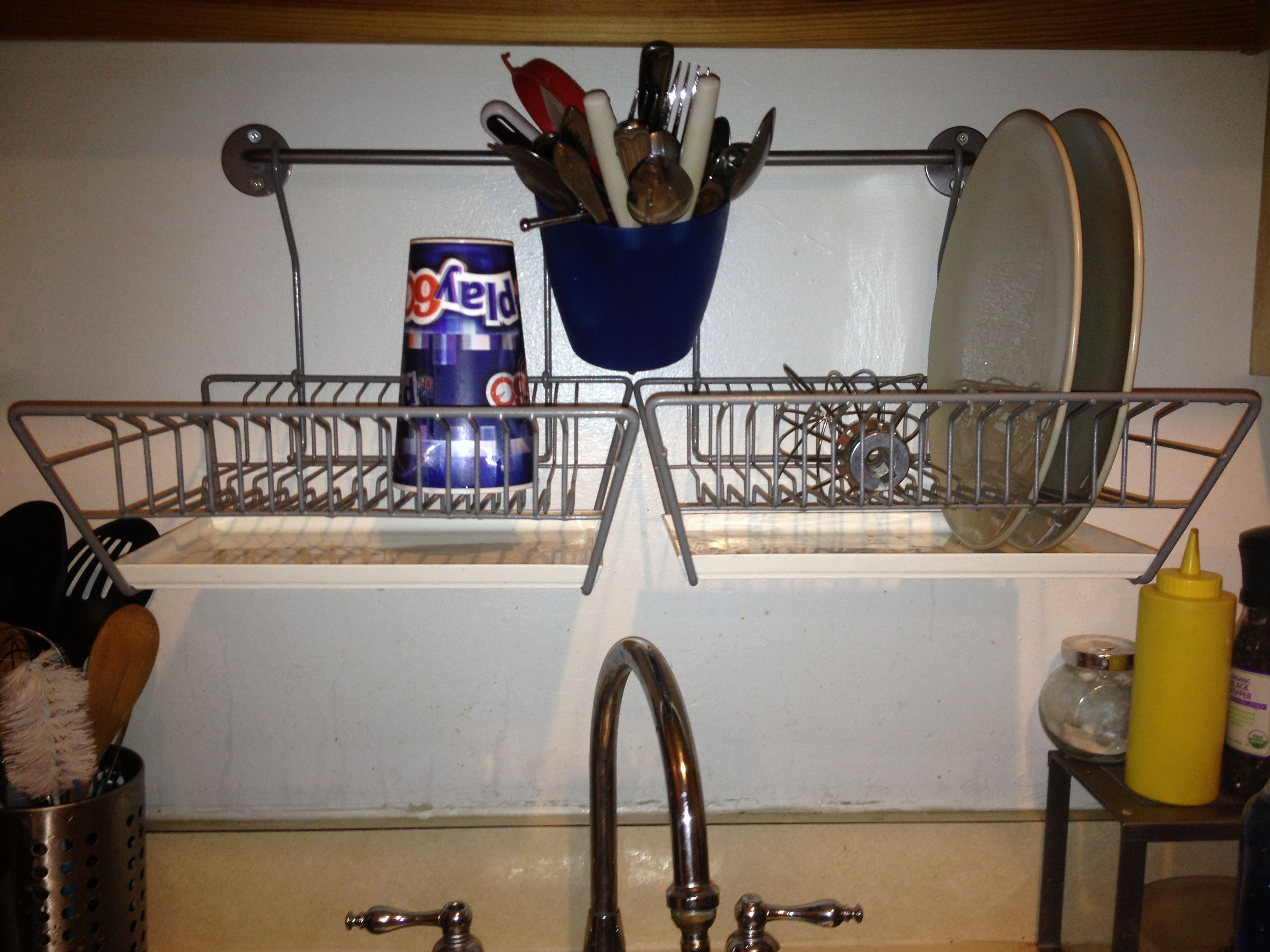 Hang Your Dish Rack Over Your Sink. (Dish Racks And Rod From Ikea)