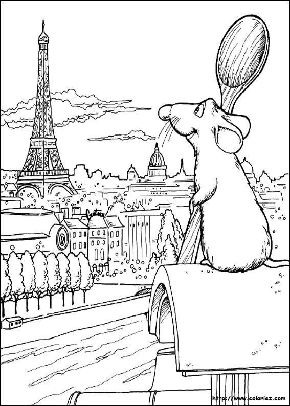 Torre eiffel llibre per pintar dibuix d 39 impressi dessins pinterest coloriage tour - Dessin anime ratatouille gratuit ...