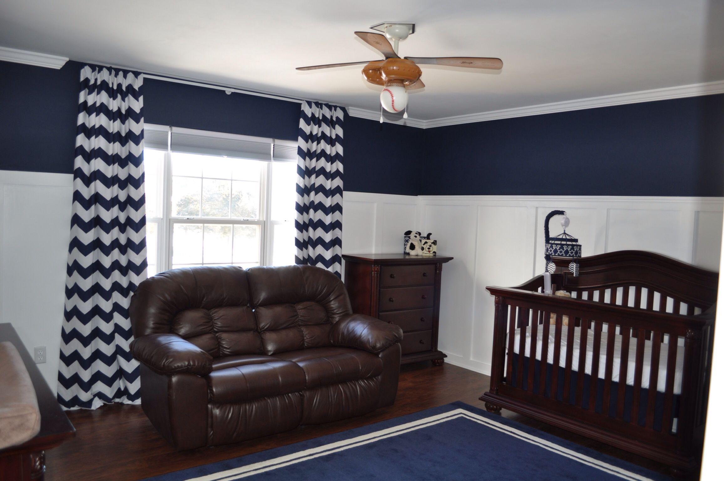 Gregory S Room Batten Board Walls Pottery Barn Naval Paint Pbk Rug Pbk Chevron Curtains