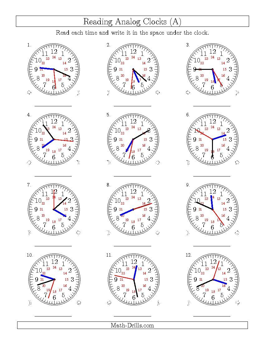 Reading Time On 24 Hour Analog Clocks To The Second A Time Worksheet Matematik Saatler Okuma