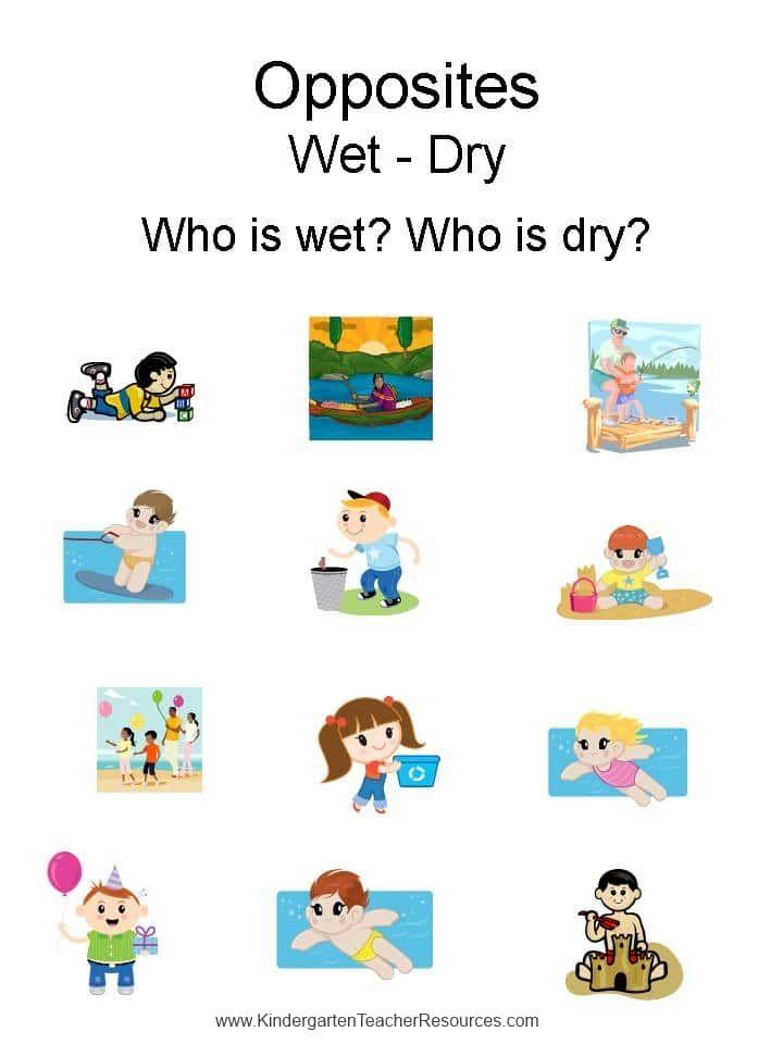 Opposites Wet Dry Wet And Dry Preschool Weather Preschool Learning Activities Free printable opposites worksheets for