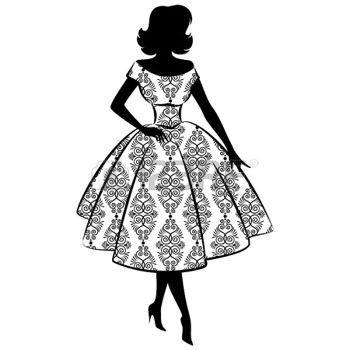 femme romantique: Silhouette vintage de fille