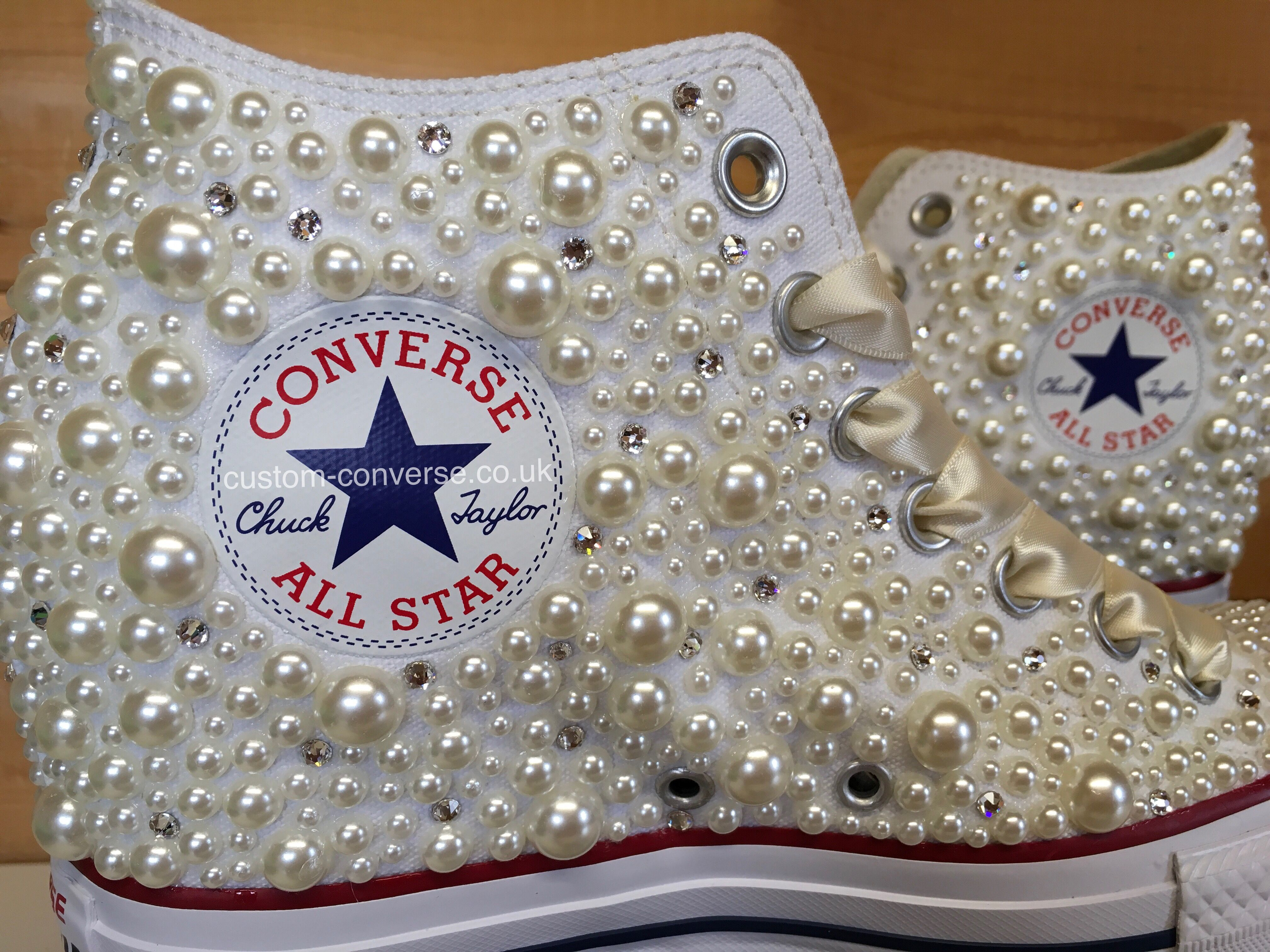 Mixed Size Pearl and Swarovski High Tops  wedding  weddingconverse  converse   chucks  allstars  kicks  weddingshoes  bride  brideconverse  pearl   swarovski ... fcfc3d969
