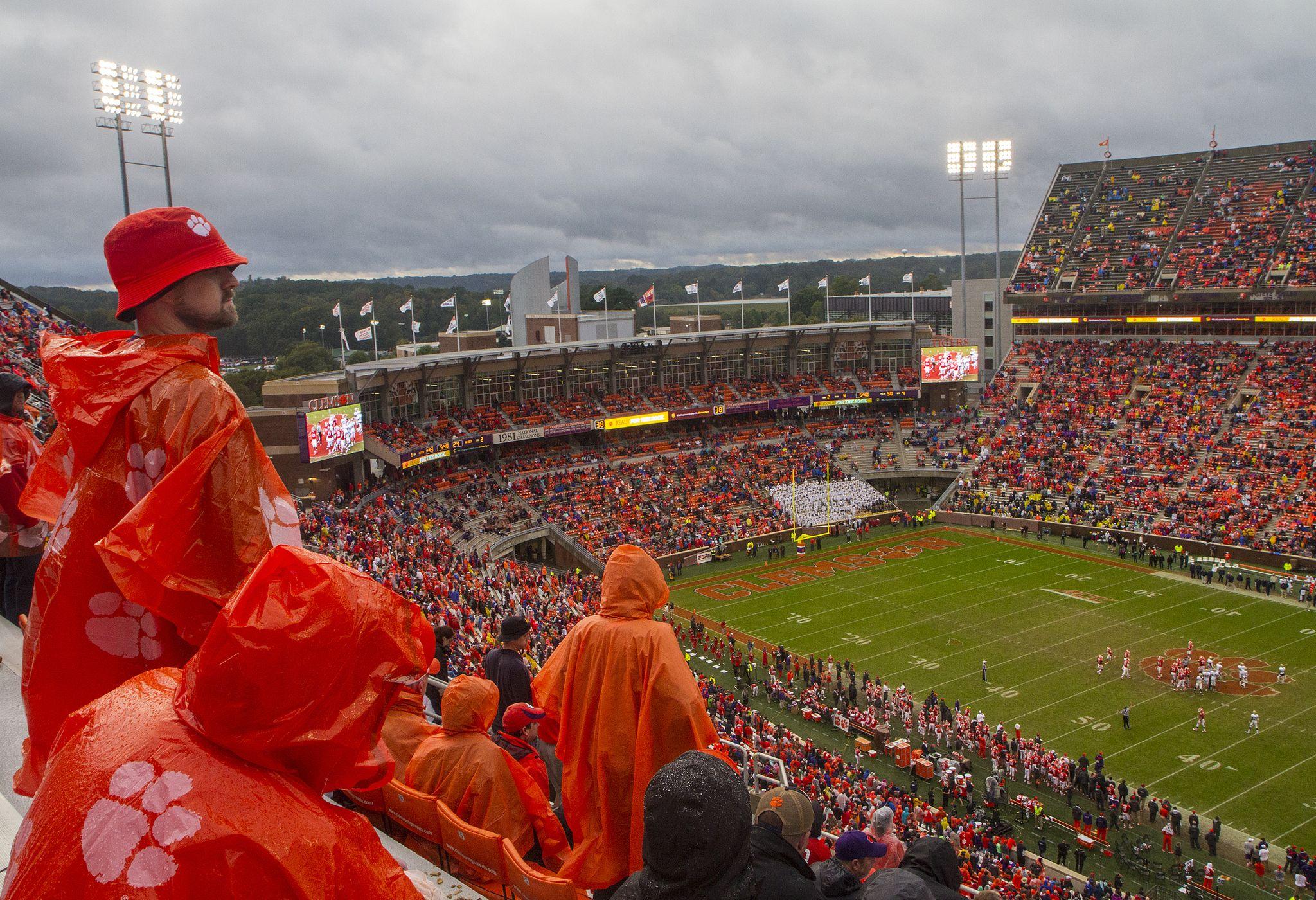 Memorial Stadium in the rain Clemson university tigers