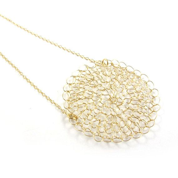 Knitted necklace  knitted pendant  Goldfilled by SariGlassman, $43.00