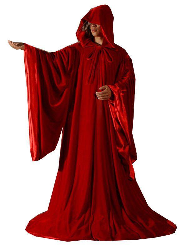 RED Velvet//Red Silk Hooded Velvet Cloak//Cape